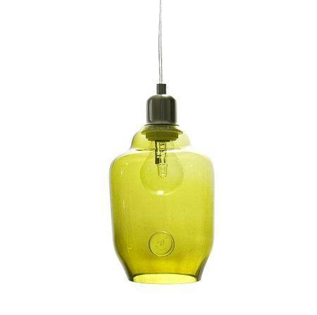 Lampa wisząca szklana mała - Gie El Home - oliwkowa