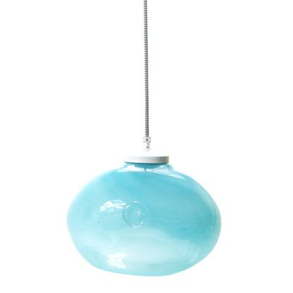 Lampa wisząca szklana okrągła Gie El Home pastelowy turkus