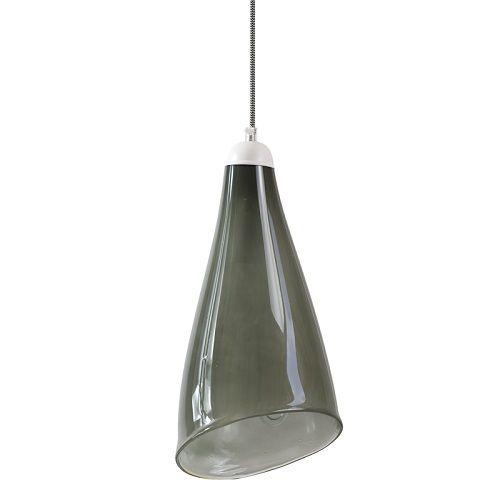 szara lampa wisząca z barwionego szkła