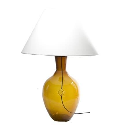 Lampa stołowa szklana z białym abażurem - Gie El Home - miodowa