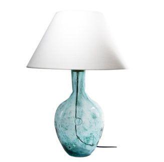 Lampa stołowa szklana z białym abażurem - Gie El Home - turkusowa