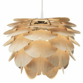 Designerska lampa wisząca z drewna brzozowego - Aiko cappuccino  - Woolights