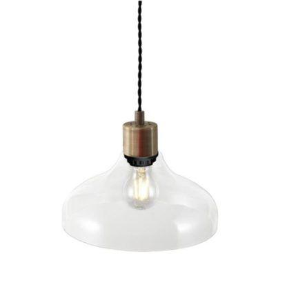 oryginalna lampa wisząca ze szklanym przezroczystym kloszem