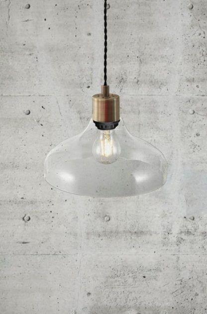 industrialna lampa z transparentnego szkła