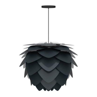 nowoczesna lampa wisząca z czarnych płatków, z czarnym zawieszeniem, kształt szyszki