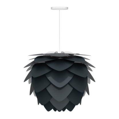 ciemnoszara lampa wisząca w stylu nowoczesnym, klosz w kształcie szyszki