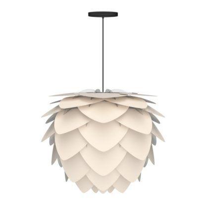 lampa wisząca perłowa biel, klosz w kształcie szyszki, styl nowoczesny