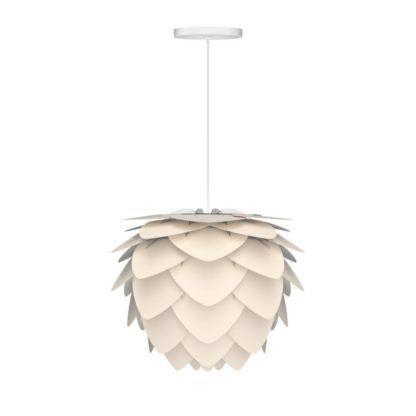 biała lampa wisząca w nowoczesnym stylu, klosz w kształcie szyszki