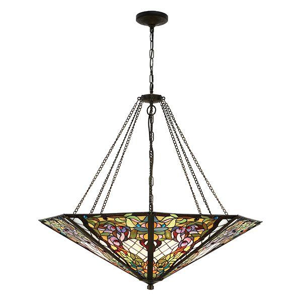 witrażowa lampa wisząca na brązowych łańcuszkach