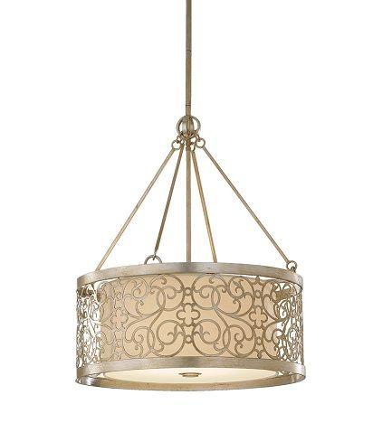 lampa wisząca z metalowym kloszem w ażurowy wzór, srebrna -aranżacja