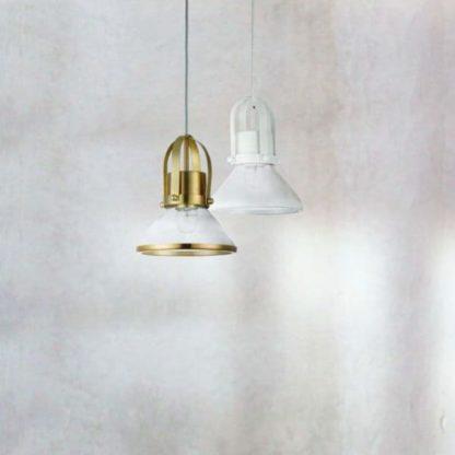 dwie lampy wiszące biała i złota szklana