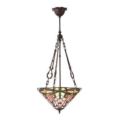 Lampa wisząca Ashton - Interiors - 3 żarówki - szkło witrażowe
