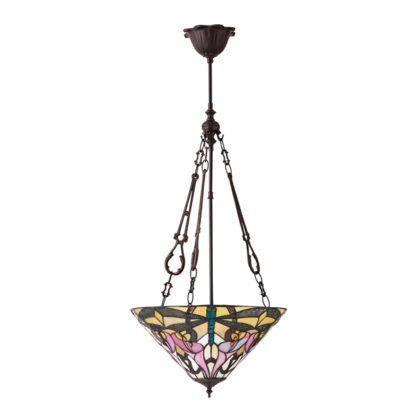 masywna lampa wisząca z kolorowego szkła witrażowego