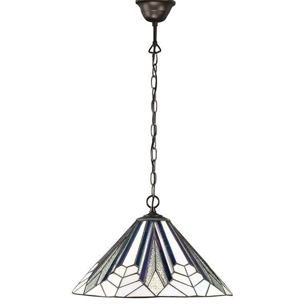 witrażowa lampa w kolorze białym z kolorowymi akcentami