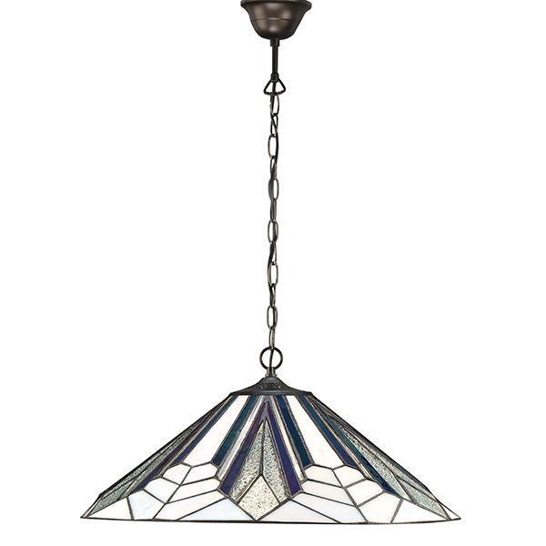 średnia lampa wisząca z kolorowym mozaikowym kloszem
