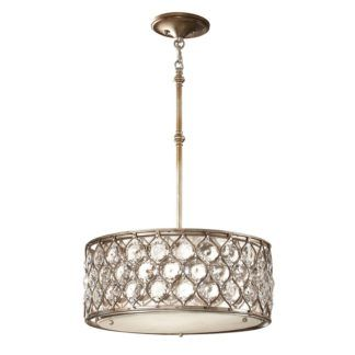 Lampa wisząca - Bella - srebrna z kryształkami