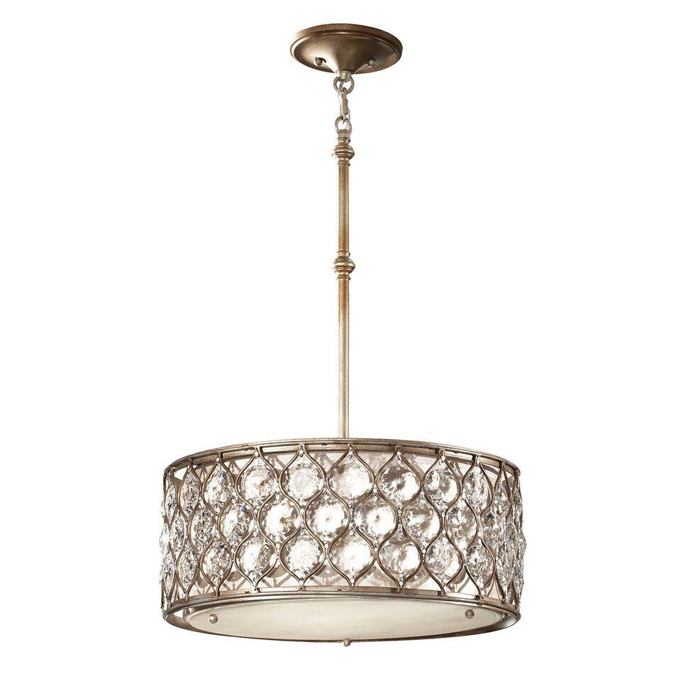 okrągła lampa wisząca, kryształy w srebrnej oprawie - aranżacja jadalnia elegancka