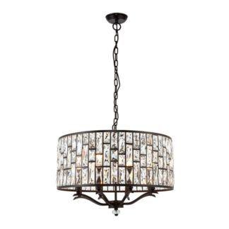 Lampa wisząca Belle - Endon Lighting - 8 żarówek - brązowa, kryształki
