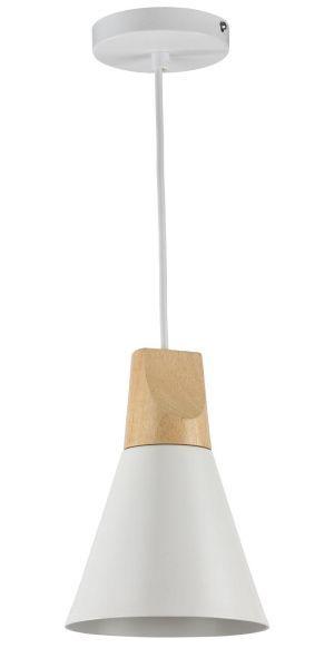 lampa wisząca biała drewniana na czarnej ścianie