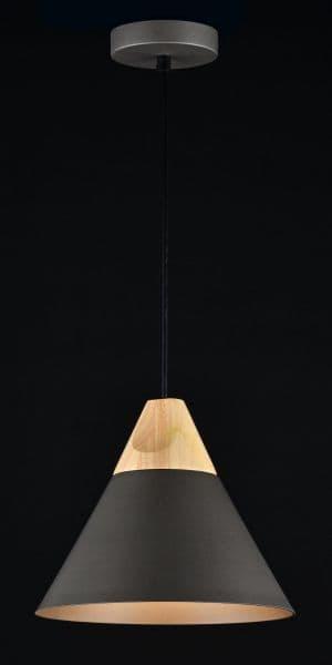 czarna lampa wisząca stożkowa z drewnem i złota w środku