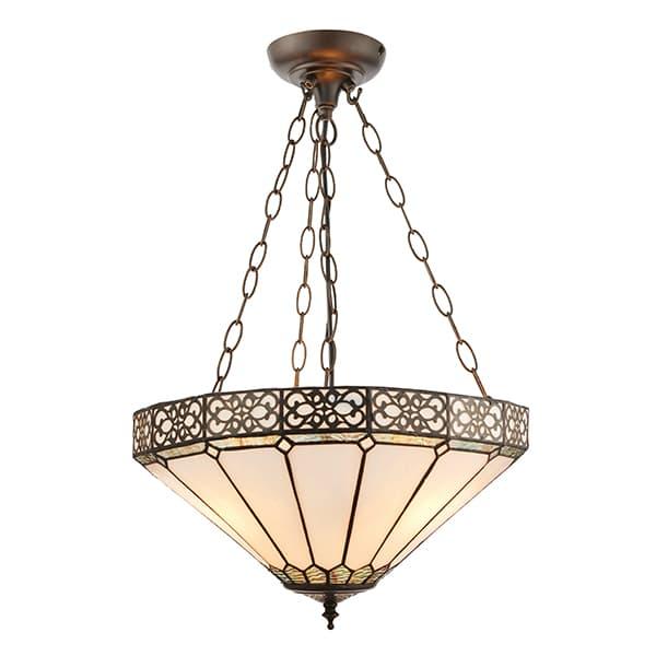 szklana lampa wisząca z delikatnym ornamentem
