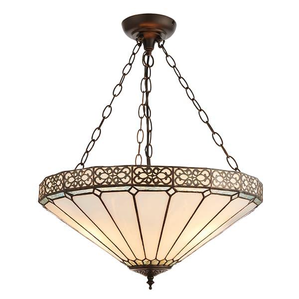duża lampa wisząca z otwartym ku górze kloszem