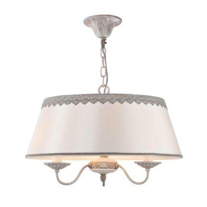 lampa wisząca abażur z szarymi zdobieniami materiałowymi