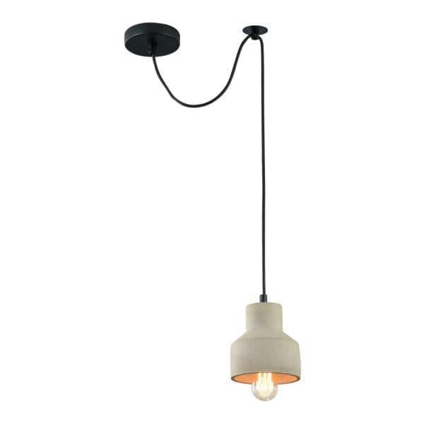 lampa wisząca betonowa z czarnym kablem