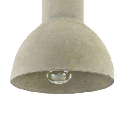 betonowa siwa lampa wisząca półokragła
