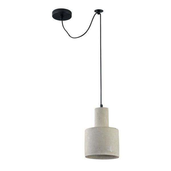 betonowa lampa wisząca okrągła walec