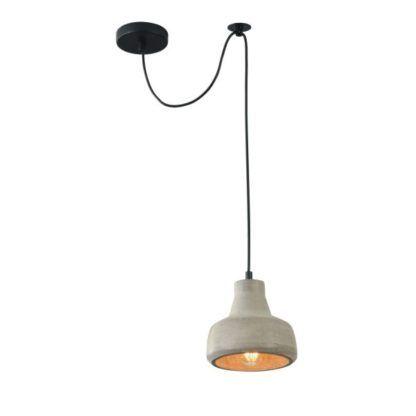 betonowa lampa zwężana u góry wisząca