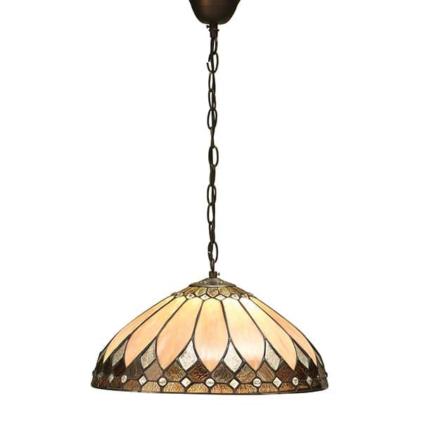 witrażowa szklana lampa z beżowymi i brązowymi akcentami