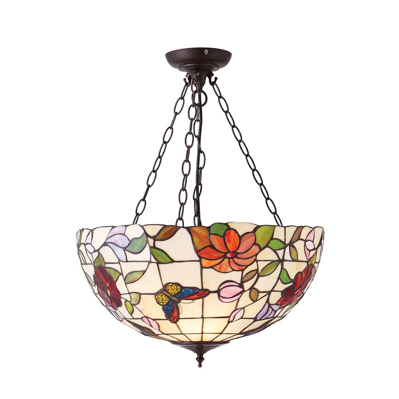 oryginalna szklana lampa z kwiatowym wzorem i motylami