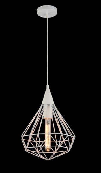 biała lampa wisząca z drutów na czarną ścianę