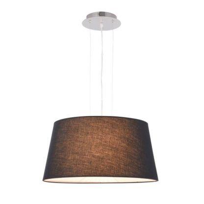 Klasyczna lampa wisząca wykonana z czarnego materiału i srebrnej podsufitki