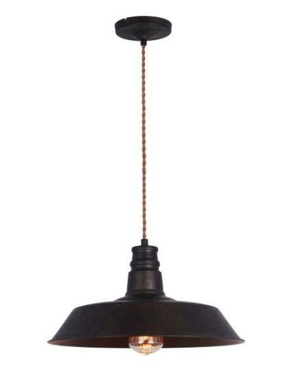 płaska lampa wisząca z kloszem czarnym i miedzianym wykończeniem