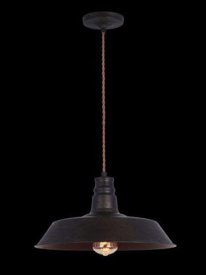 czarno miedzian alampa z płaskim kloszem do jadalni