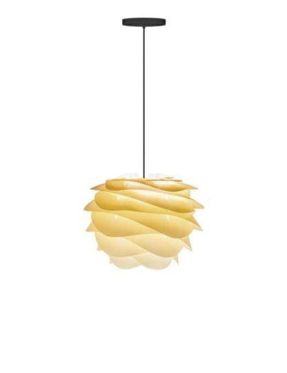 żółta lampa wisząca z falistego tworzywa