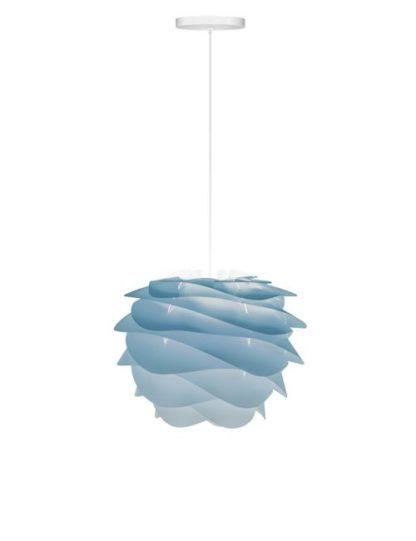 lampa wisząca w delikatnych odcieniach niebieskiego, styl nowoczesny, białe zawieszenie