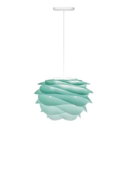 nowoczesna lampa wisząca w odcieniach turkusu i bieli