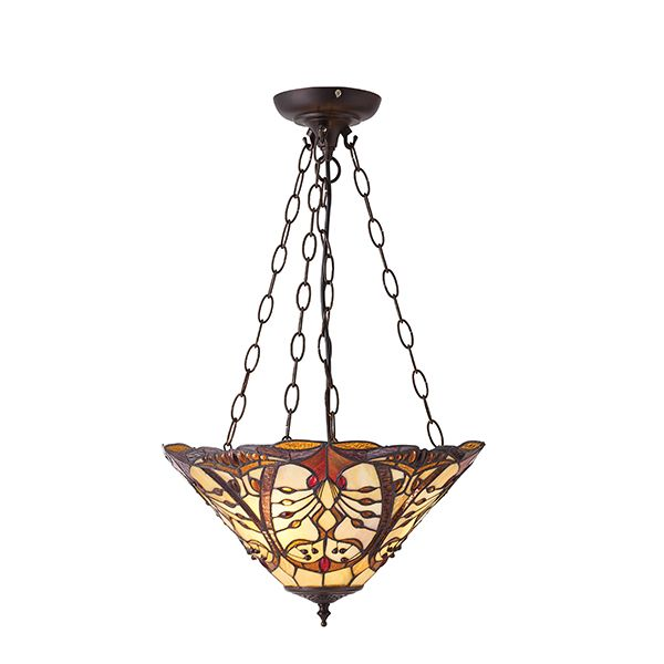 kolorowa lampa wisząca ma metalowych brązowych zwisach