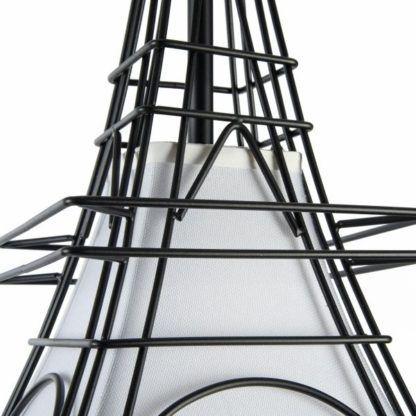 lampa materiałowa z czarnymi drutami
