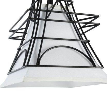 lampa materiałowa z drucianej obudowy biała