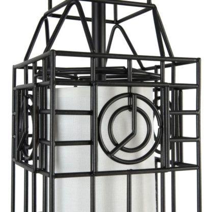 lampa druciana czarna z tekstylnym białym abażurem