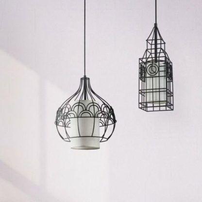 dwie lampy wiszące druciane z białymi kloszami