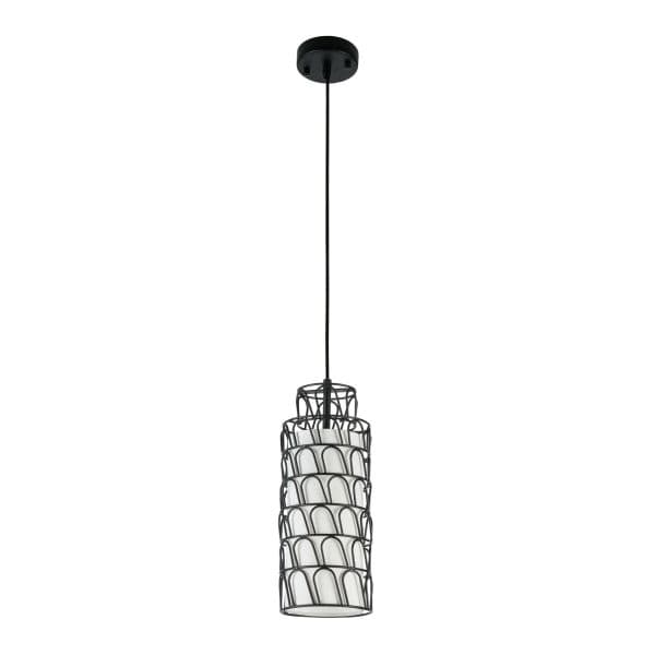 lampa w kształcie walca czarna druciana