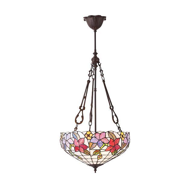 wzorzysta lampa wisząca wykonana ze szkła Tiffany