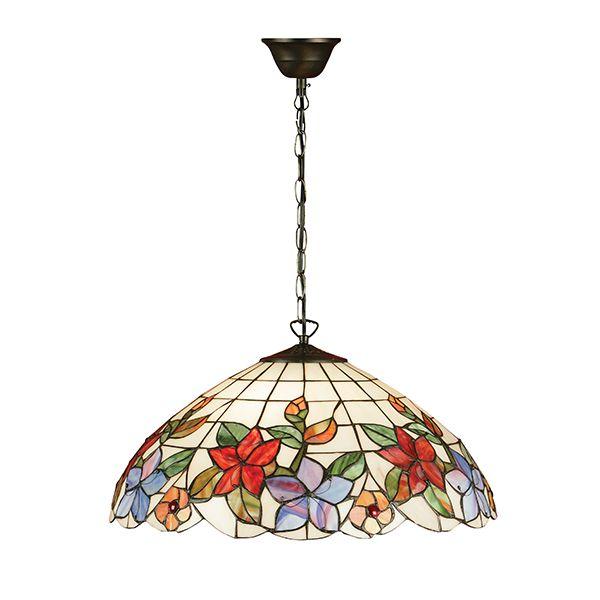 jasna lampa wisząca w kolorowe kwiaty ze szkła Tiffany