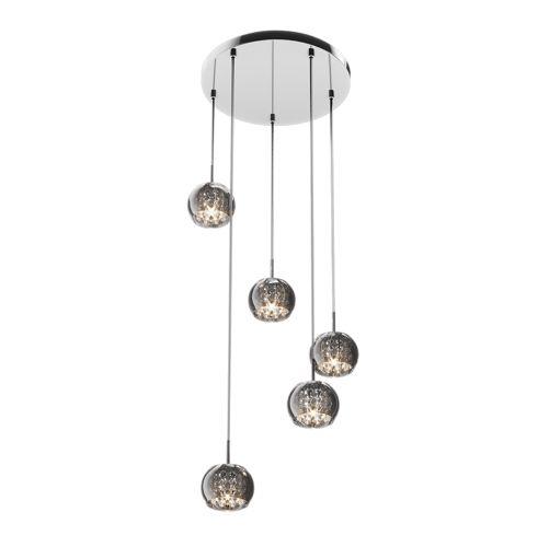 lampa wisząca w stylu glamour z małymi, szklanymi kloszami