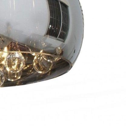 szklana lampa wisząca z szarym kloszem i kryształami